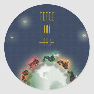 Tractors on Earth Christmas Card Envelope Seal