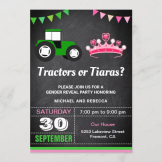 Tractors or Tiaras Gender Reveal Party Invitation