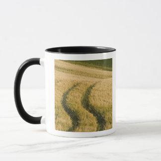 Tractors tracks through wheat, Tuscany, Italy Mug