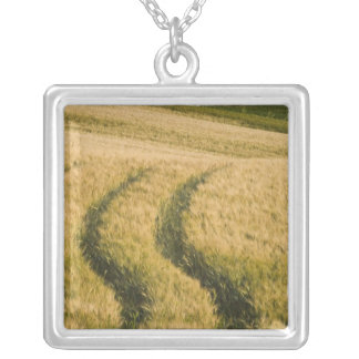 Tractors tracks through wheat, Tuscany, Italy Silver Plated Necklace