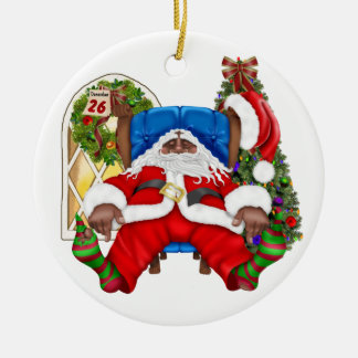 Tracy's Tired Santa Ceramic Ornament