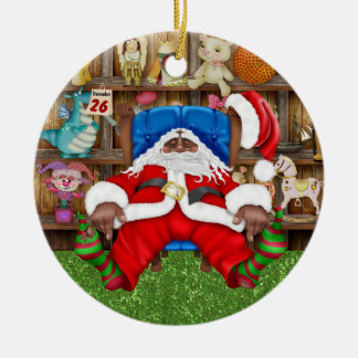 Tracy's Tired Santa Double-Sided Ceramic Round Christmas Ornament
