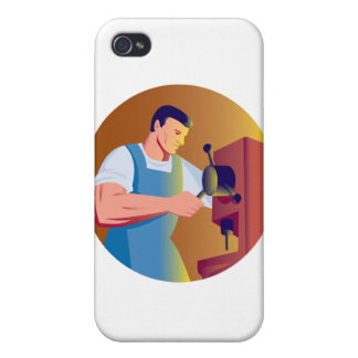 trade factory worker working with drill press iPhone 4 covers