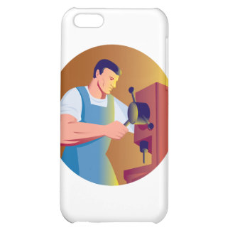 trade factory worker working with drill press iPhone 5C case