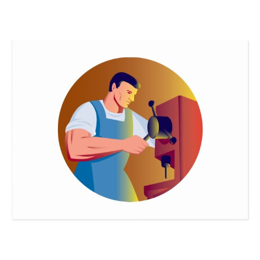 trade factory worker working with drill press post card