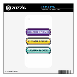 Trade Online Instant Access Learn More Buttons Decals For iPhone 4S