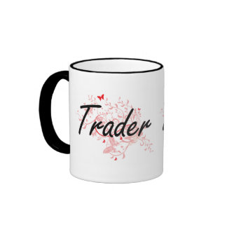Trader Artistic Job Design with Butterflies Ringer Mug