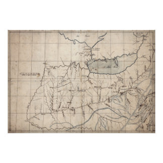 TRADERS MAP OHIO RIVER VALLEY 1753 POSTER