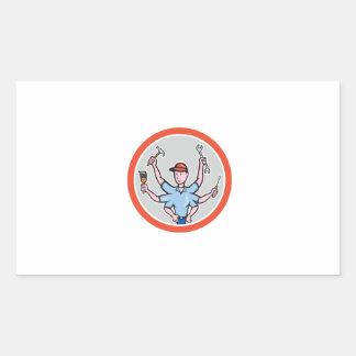 Tradesman Worker Six Hand Cartoon Rectangle Sticker