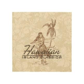 Tradewinds Hawaiian Island Hula Girl Distressed Wood Print