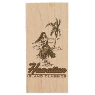 Tradewinds Hawaiian Island Hula Girl Wood USB Flash Drive