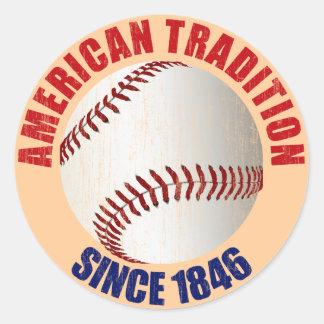 Tradición del americano del béisbol pegatina redonda