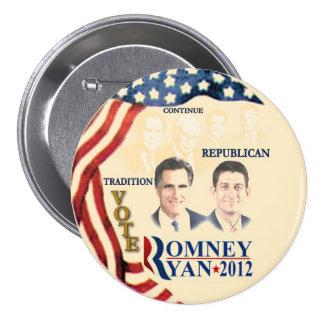 Tradición del GOP: Romney Ryan Pin Redondo 7 Cm