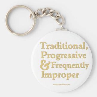 Tradicional, progresista… llavero redondo tipo pin