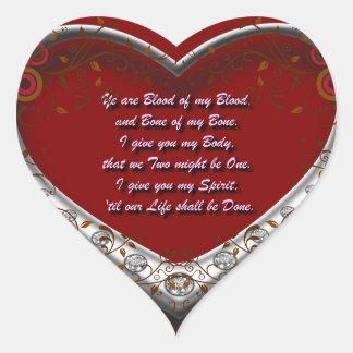 Tradicional. Voto del amor de Scot: Sangre de mi Pegatina En Forma De Corazón