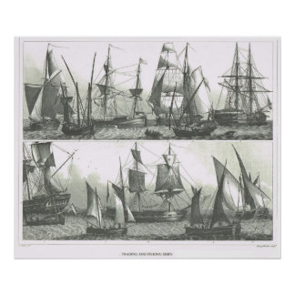 Trading and fishing ships in the 19th century poster