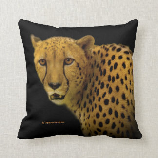 Trading Glances with a Magnificent Cheetah Throw Pillow