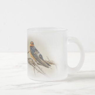 Trading Stares with a Barn Swallow Frosted Glass Coffee Mug