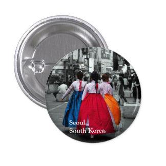 tradional korean girl photography pinback button