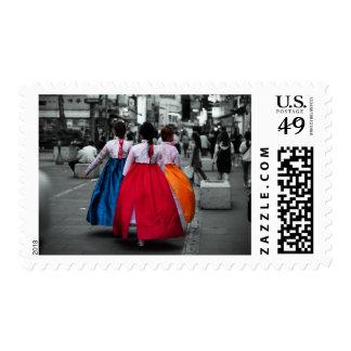 tradional korean girl photography postage