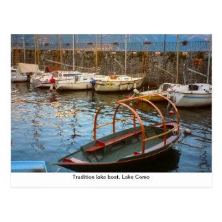 Tradition lake boat, Lake Como, Postcard