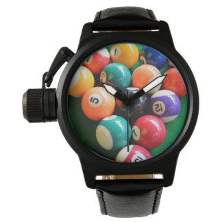 Traditional_8_Balls_Mens_Black_Leather_Watch. Relojes De Pulsera