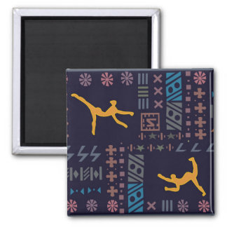 Traditional African dancers 2 Inch Square Magnet