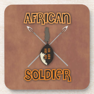 Traditional African Soldier Spear and Shield Coaster