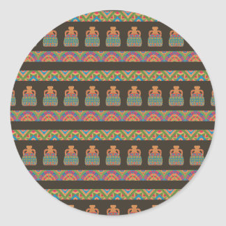 Traditional African Tribal Pottery Pattern Classic Round Sticker