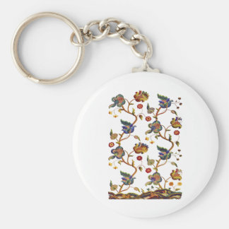 Traditional Albemarle Jacobean Embroidery Basic Round Button Keychain