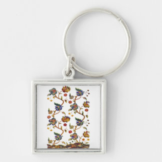 Traditional Albemarle Jacobean Embroidery Silver-Colored Square Keychain