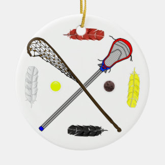 Traditional and Modern Lacrosse sticks Ceramic Ornament