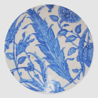 Traditional antique Blue and White Ottoman Ceramic Classic Round Sticker