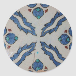 Traditional antique Ottoman tile Classic Round Sticker