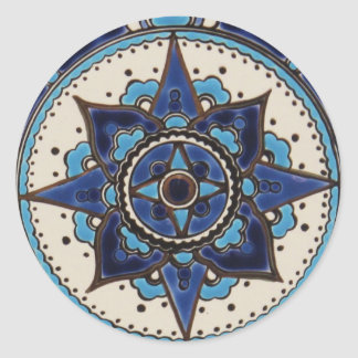 Traditional Arabic style blue  white  tile design Classic Round Sticker