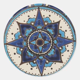 Traditional Arabic style blue  white  tile design Classic Round Sticker