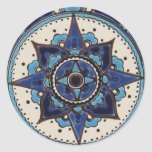 Traditional Arabic style blue  white  tile design Round Sticker