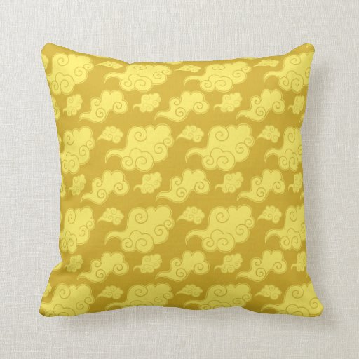 Traditional Asian/Chinese Golden Cloud Pattern Throw Pillow Zazzle