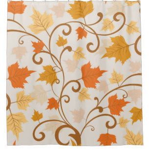 Traditional Autumn Falling Leaves Shower Curtain