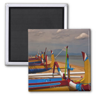 Traditional Balanese fishing boats on beach near 2 Inch Square Magnet