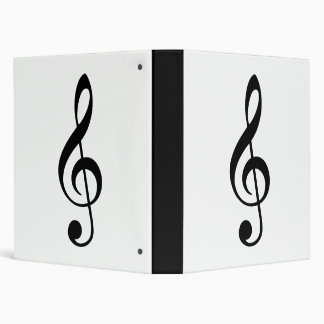 Traditional Basic Black Treble Clef 3 Ring Binder