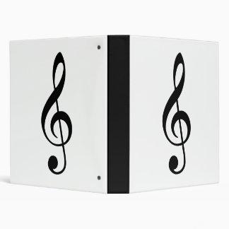 Traditional Basic Black Treble Clef Vinyl Binder