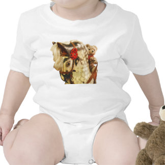 Traditional bear riding a rocking horse rompers