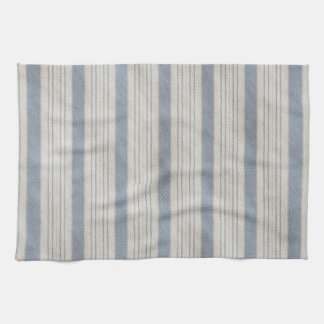 Traditional Bed Ticking Blue and White Hand Towel