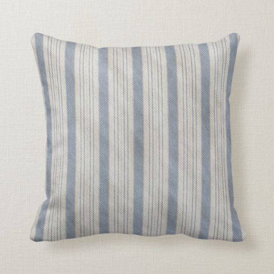 Traditional Bed Ticking Blue and White Throw Pillow