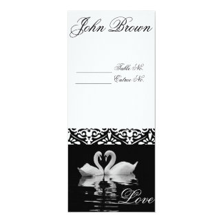 Traditional Black and White Swan Place Card
