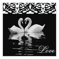 Traditional Black &White Swans Wedding Invitation