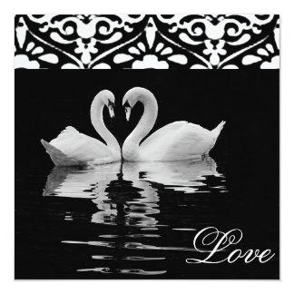 Traditional Black &White Swans Wedding Invitation