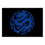 Traditional Blue and Black Chinese Dragon Circle Large Business Card