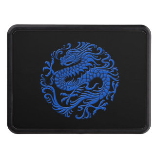 Traditional Blue and Black Chinese Dragon Circle Tow Hitch Cover